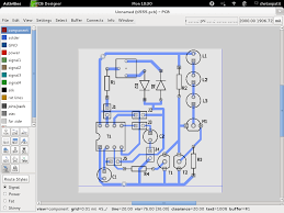 A screenshot of gEDA pcb design software