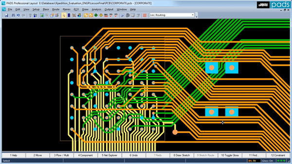 a pcb being routed using cad software