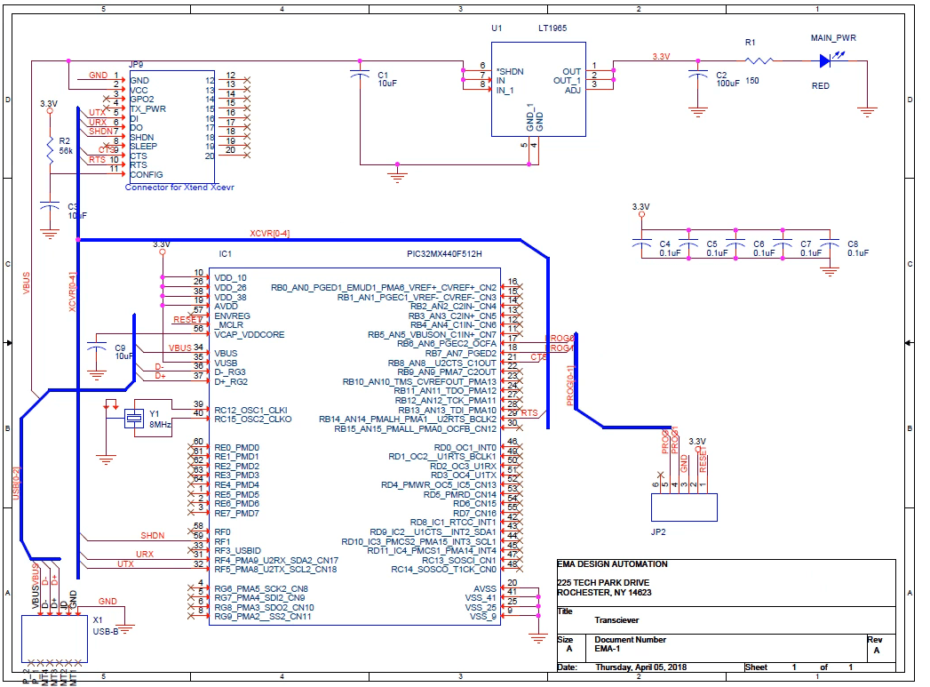 A schematic created using Cadence Allegro software